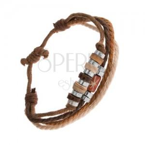 Karkötő zsinórokból barna és bézs színben, fa és acél gyöngyök