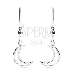 925 ezüst fülbevaló, félhold kontúr, sima fényes felület