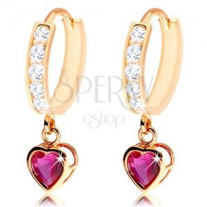 Szögecskés fülbevaló 585 aranyból - karika átlátszó cirkóniákkal díszítve, rubin szív
