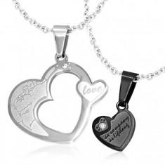 Kettős medál pároknak, 316L acél - szívek ezüst és fekete színben, cirkóniák