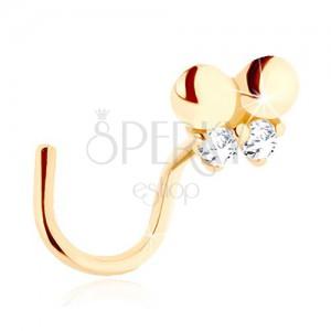 585 arany orrpiercing - hajlított, apró pillangó átlátszó cirkóniákkal díszítve