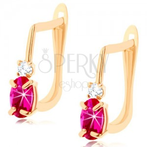 585 arany fülbevaló - sötétrózsaszín rubin ovális, átlátszó cirkónia