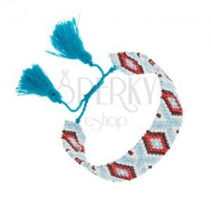 Gyöngyös karkötő, indián minta, világoskék, fehér, fekete, piros szín