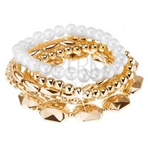 Multikarkötő, gyöngyök különböző nagyságban, arany és fehér szín, rugalmas