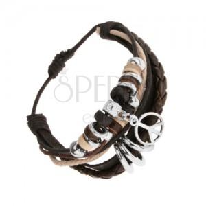 Állítható karkötő bőrből és madzagokból, fa és acél gyöngyök, béke jel