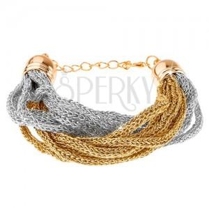 Karkötő, fonott láncok puha anyagból, arany és ezüst szín