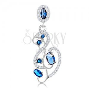 Medál 925 ezüstből, hullámos csillogó vonalak, kék és átlátszó cirkóniák