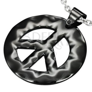 Fekete medál acélból - hippie stílus, békejel