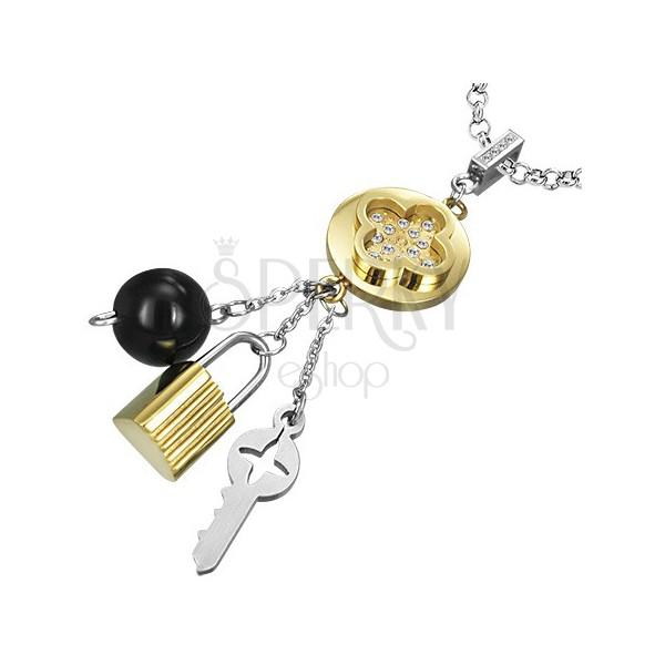 Színes acél medál - Tabono, kulcs, lakat és golyócska