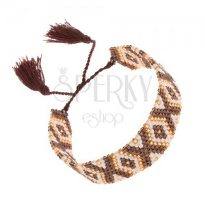 Gyöngyös karkötő indinán mintával, barna, fehér és arany szín