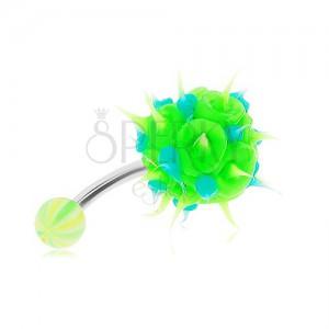 Acél piercing köldökbe, zöld-kék szilikon sündiszó