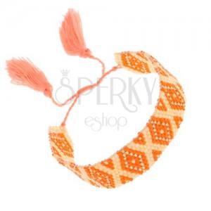 Karkötő sárga gyöngyökből, narancs és arany szín, rombusz minta