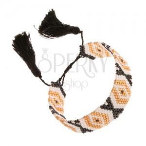 Állítható karkötő, gyöngyök, arany, fehér és fekete szín, minta - rombuszok