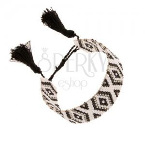Állítható karkötő gyöngyökből, rombuszok fekete, fehér és szürke színben