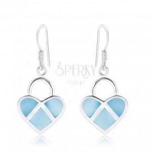 925 ezüst fülbevaló, szimmetrikus szívek, kék gyöngyházfény, ezüst vonalak