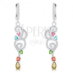 Fülbevaló 925 ezüstből, csillogó átlátszó spirálok, színes cirkóniák
