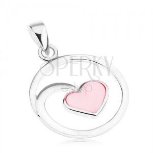 925 ezüst medál, kör körvonal, tükörfény, szívecske, rózsaszín gyöngyházfény