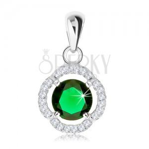 Medál 925 ezüstből, kerek zöld cirkónia, hullámos csillogó kontúr