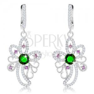 925 ezüst fülbevaló, csillogó virág körvonal, zöld és lila cirkóniák