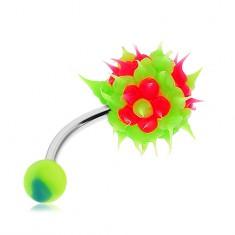 Acél piercing köldökbe, zöld golyó szilikonból, rózsaszín virágok