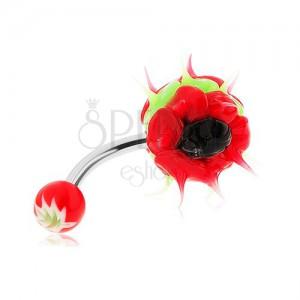 Piercing sebészeti acélból, szilikon sündisznó, zöld, piros és fekete szín