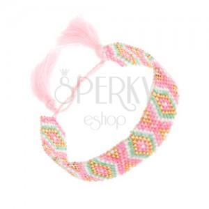 Karkötő gyöngyökből, minta - rombuszok, rózsaszín, zöld, arany, szürke árnyalat