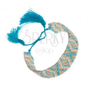 Karkötő indián mintával, gyögyök, türkiz, arany, ezüst szín
