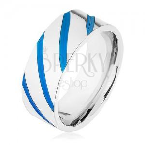 Acél karikagyűrű ezüst színben, átlós vonalak, kék fénymáz