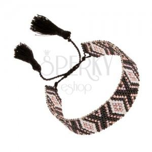 Karkötő indián mintával, fehér, fekete, világosrózsaszín gyöngyök