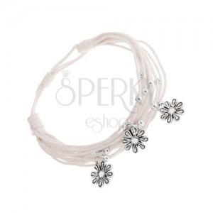 Állítható karkötő - fonat fehér zsinórokból, acél golyók és virágok