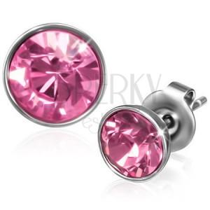 Bedugós fülbevaló sebészeti acélból - kerek rózsaszín cirkónia
