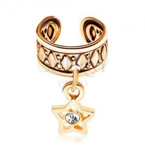 Hamis piercing fülbe sebészeti acélból, arany színű felület, csillagok