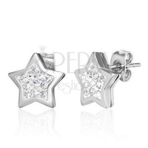 Acél fülbevaló ezüst színben, tiszta cirkóniákkal díszített csillag