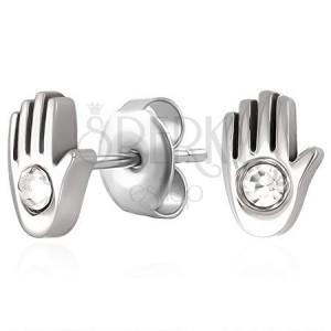 Bedugós fülbevaló sebészeti acélból - kéz és cirkónia