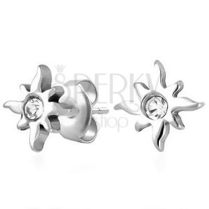 Bedugós fülbevaló, 316L acél, ezüst szín, napocska, tiszta cirkónia