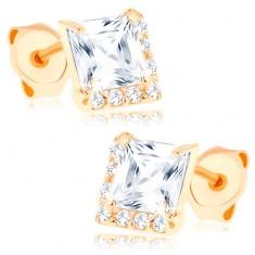 Fülbevaló 14K sárga aranyból - átlátszó négyzetes cirkónia, apró kövek