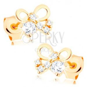 Bedugós fülbevaló 14K sárga aranyból - fényes masni, átlátszó cirkóniák
