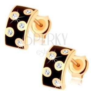 Fülbevaló 14K sárga aranyból - szélesebb félkör fekete fénymázzal, átlátszó cirkóniák