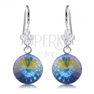 Fülbevaló, 925 ezüst, Swarovski kristály - arany és kék fények, 11 mm
