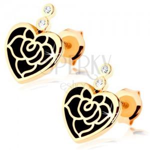 Fülbevaló 14K aranyból - egyenletes szív fekete fénymázzal, rózsa, cirkóniák