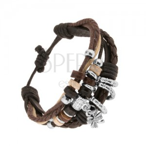 Multikarkötő bőrsávokból és fonalakból, fa és acél díszek, négylevelű lóhere