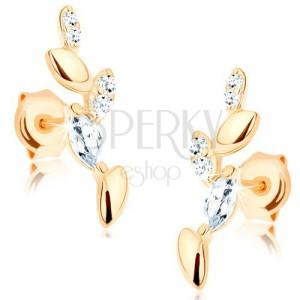 Fülbevaló 14K sárga aranyból - csillogó gally, sima és cirkóniás levelek