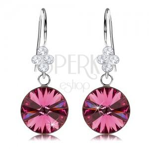 Fülbevaló 925 ezüstből, csiszolt Swarovski kristály rózsaszín színben, 11 mm