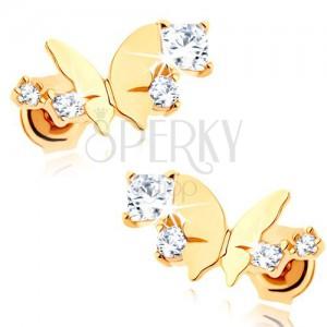 585 arany fülbevaló - fényes kicsi pillangó, félhold átlátszó csillogó cirkóniákból