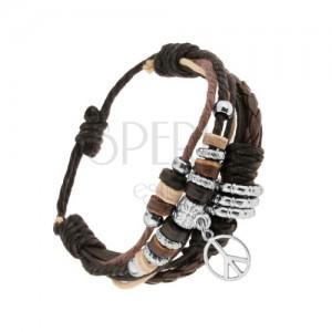 Állítható karkötő bőrből és madzagokból, gyöngyök acélból és fából, béke jel