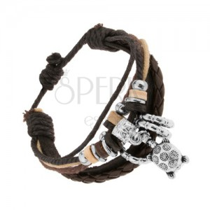 Karkötő bőrből és zsinórokból, állítható, acél és fa díszek, teknősbéka
