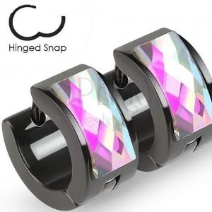 Szögecskés fülbevaló 316L acélból, fekete szín, csiszolt cirkónia, szivárvány fény