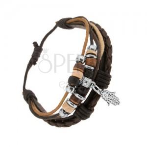 Multikarkötő bőrből és madzagokból, gyöngyök fából és acélból, Hamsa szimbólum