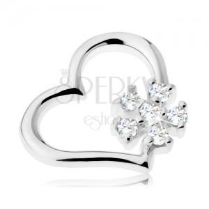 925 ezüst medál - fényes szív kontúrral, átlátszó cirkóniás virág