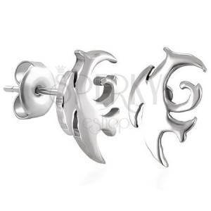 Fülbevaló, sebészeti acél, tribal motívum, ezüst árnyalat, stekkerek